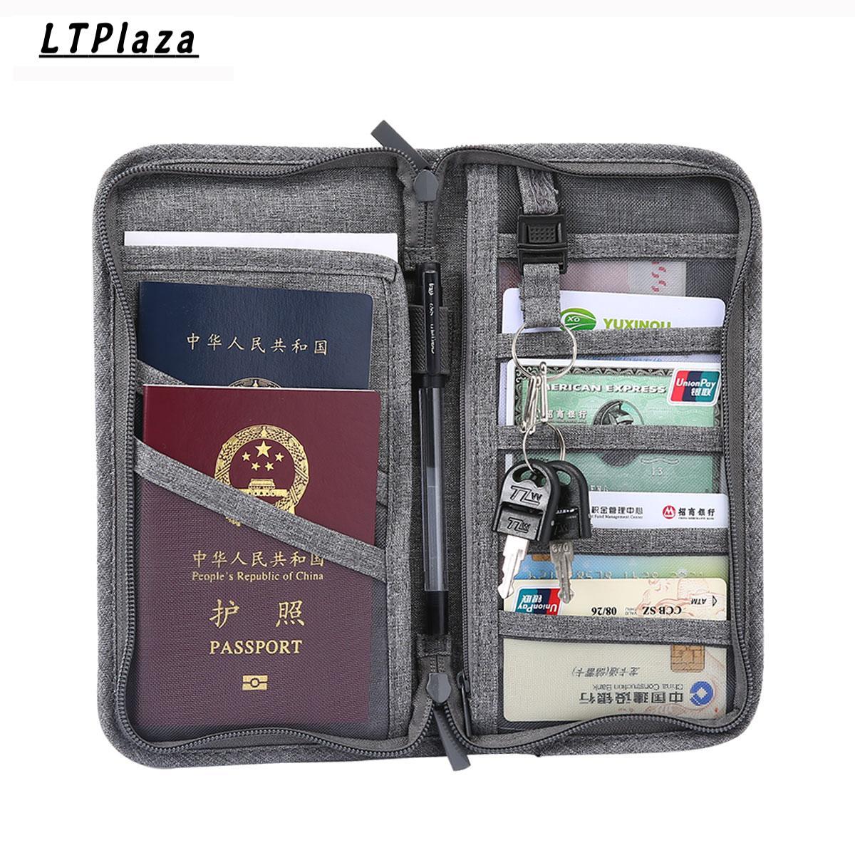 4fcdf5bad3e Multi-functional Travel Passport Wallet Polyester Passport Holder Travel  Card Storage Bag Key Pencil Ticket
