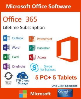 Microsoft Office 365 Lifetime for 5 users with 5 TB One Drive