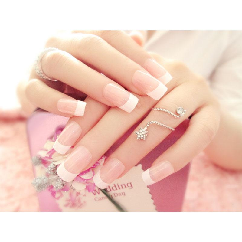 24 Pcs Fashion Simple Fake Nails Sticker French Acrylic False Nail Tips with 2g Glue Philippines