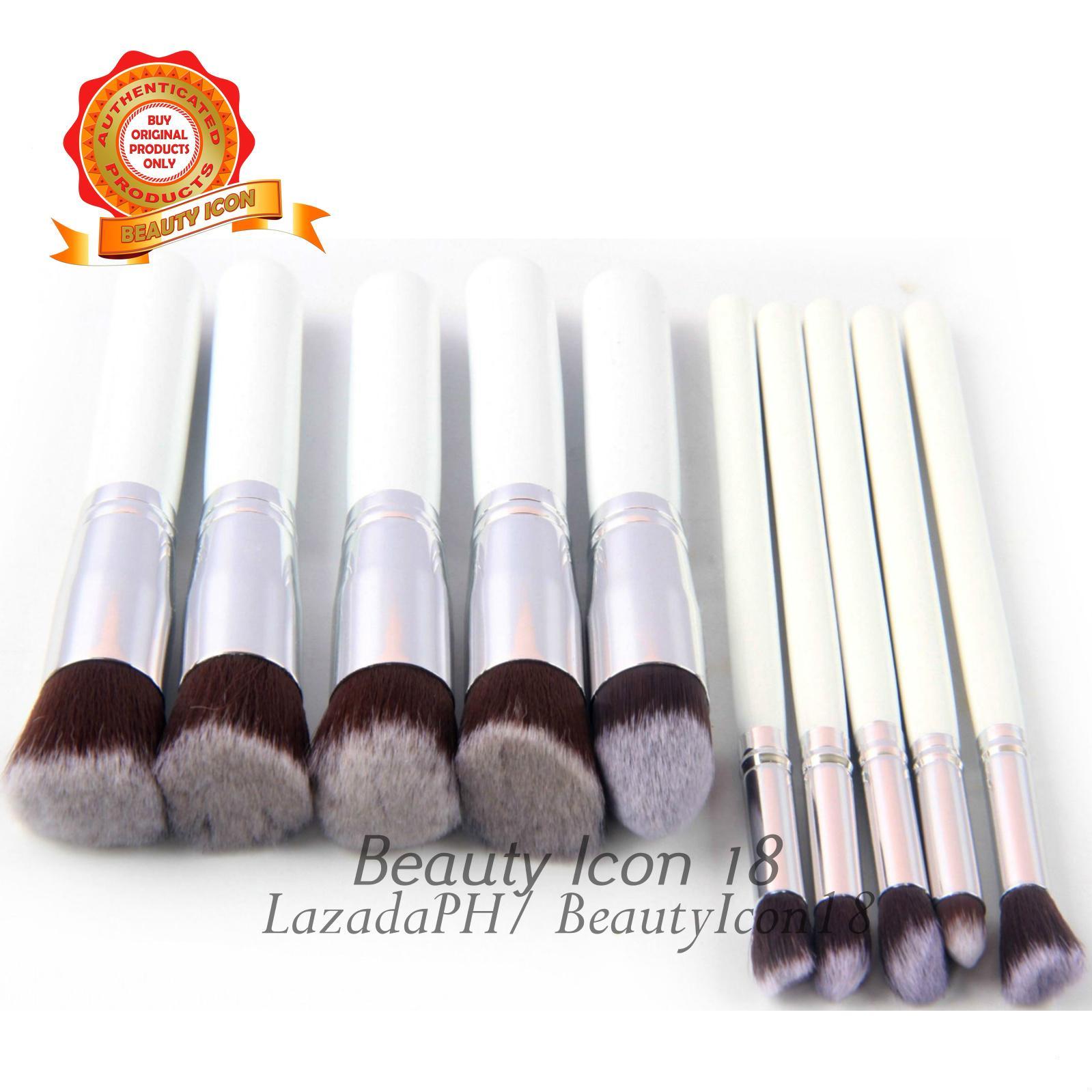 Kabuki 10 Pcs Professional Soft Make Up Brush Set (White Silver)