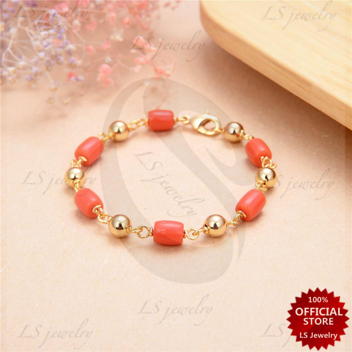 Lsjewelry Lucky Charms Corals And Rose Gold Bracelet For Kids By Ls Jewelry.
