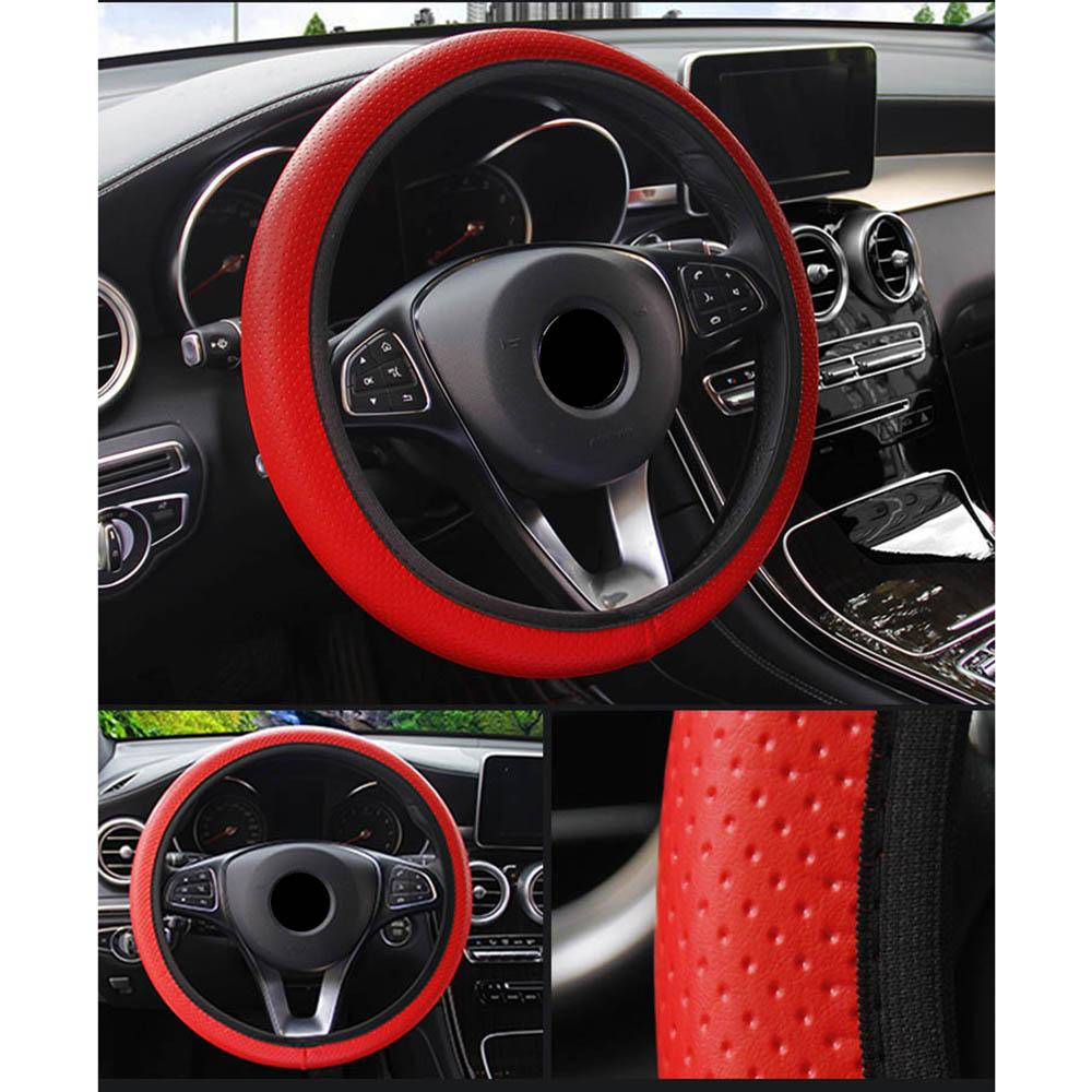 Universal Car Accessories Auto Decoration DIY Car Steering-wheel Cover Soft  Faux Leather Car Steering Wheel Cover Black