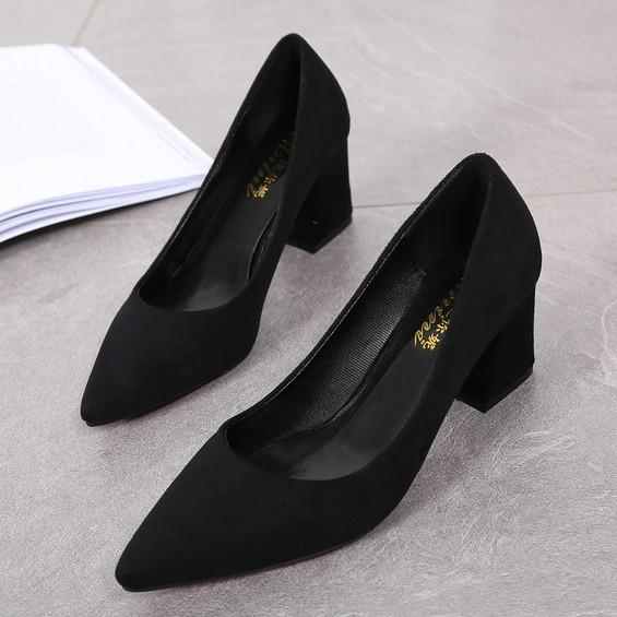 6dc07506742 2019 Spring New Style Korean Style Pointed Shoes women Suede Shoes Shallow  Mouth Shoes Chunky Heel