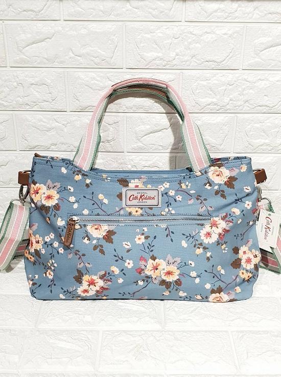 64b498d32a Cath Kidston Floral Zippe Stripe handbag w  Detachable strap - Light Blue