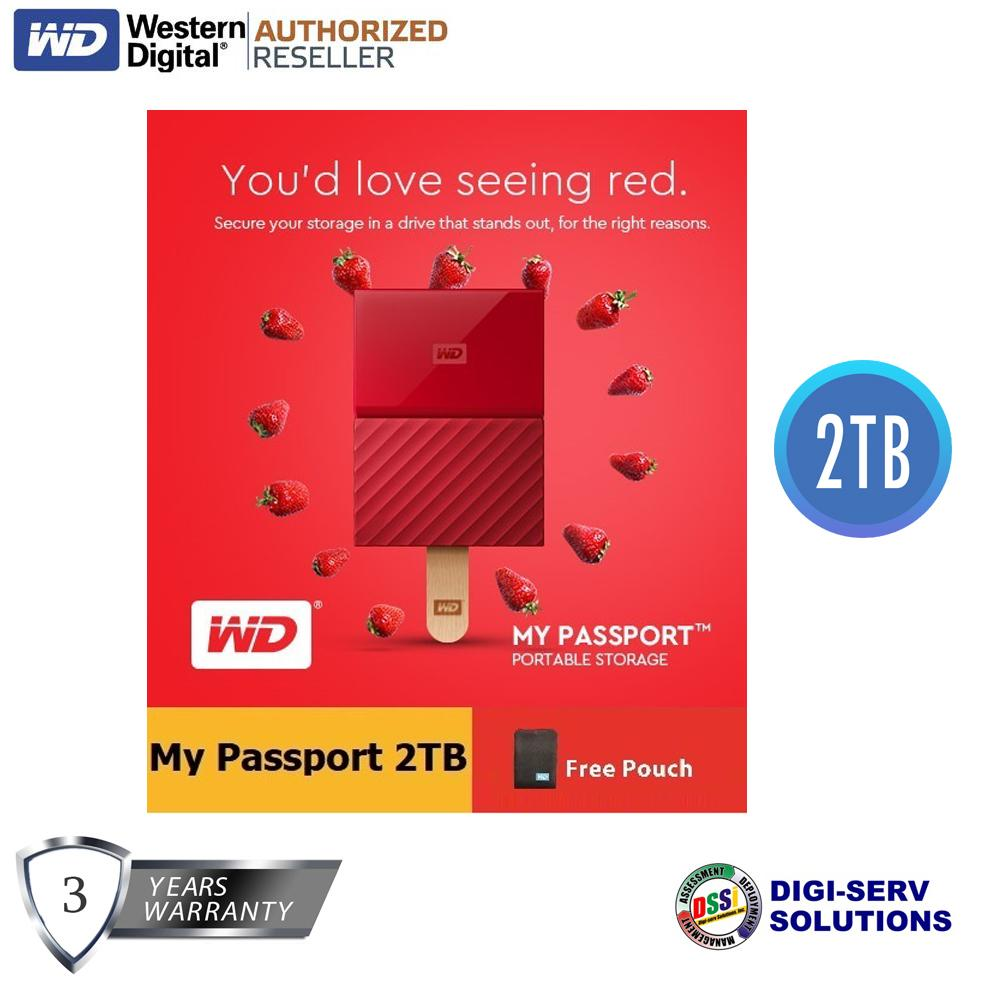 WD My Passport 2017 2TB USB 3.0 Portable External Hard Drive (Red) with FREE