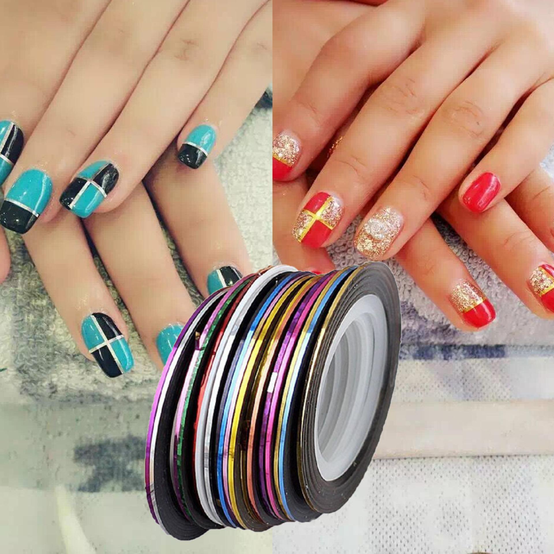 Decoration 10Pcs/Set Colors Striping Tape Line Diy Nail Art  Sticker Manicure (Intl) Philippines