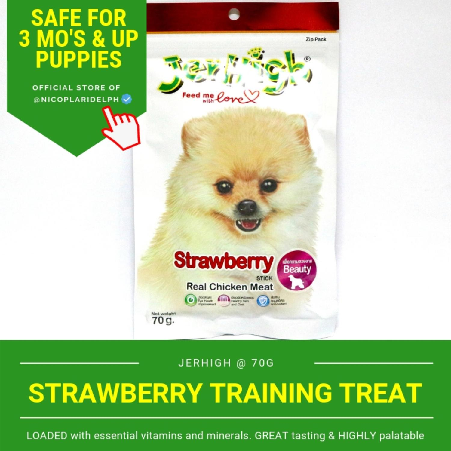 Jerhigh Strawberry Stick With Real Chicken Meat For Puppies And Adult Dogs (70g) By Nicoplaridelph.
