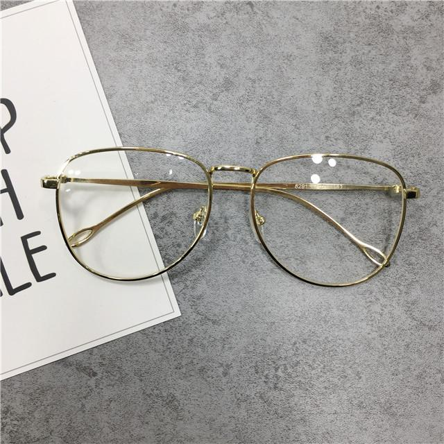 9df0e8a46c66 Korean Style Harajuku Metal Oversized Frame Nearsighted Glasses women  Versatile Literature And Art Great Circle Frame