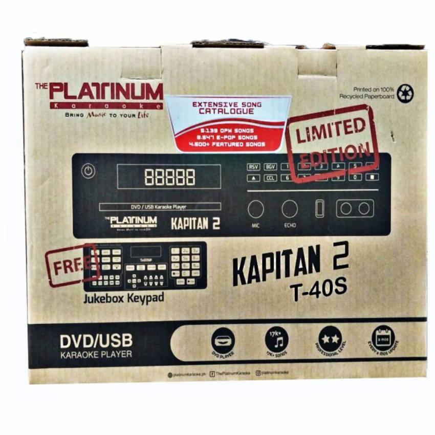 Platinum Kapitan 2 T40S Limited Edition DVD Karaoke Player with 18186  Songs, Free Platinum KS-5000 Microphone and Free Jukebox Keypad