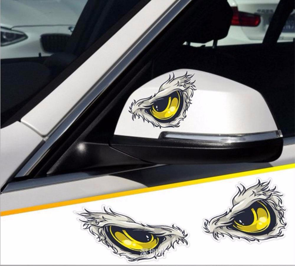 Redcolourful reflective 3d eyes decals car stickers rearview mirror car head styling sticker
