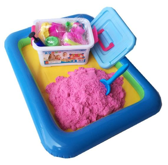 2kg Kinetic Motion Sands Playset With 37 Molds, Inflatable Pool And Box By Happy Choice.