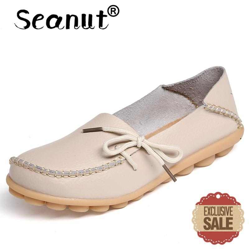 Seanut Fashion Leather Comfortable Slip-On Women Casual Shoes Loafers (Beige) - intl