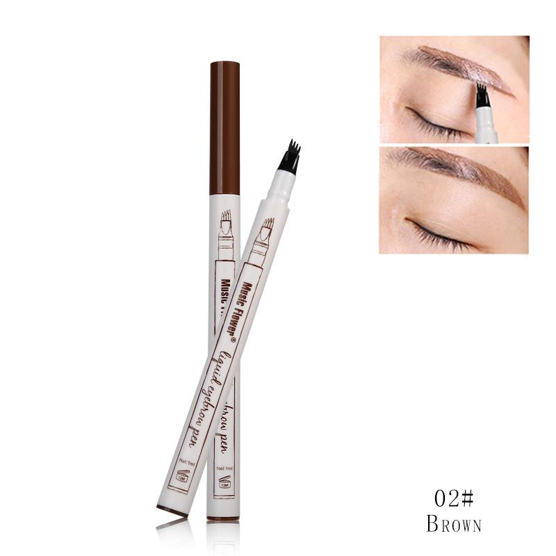 AMOG 3 Colors Music Flower Brand Makeup Fine Sketch Liquid Eyebrow Pen Waterproof Tattoo Super Natural Eye Brow Smudge-proof Philippines