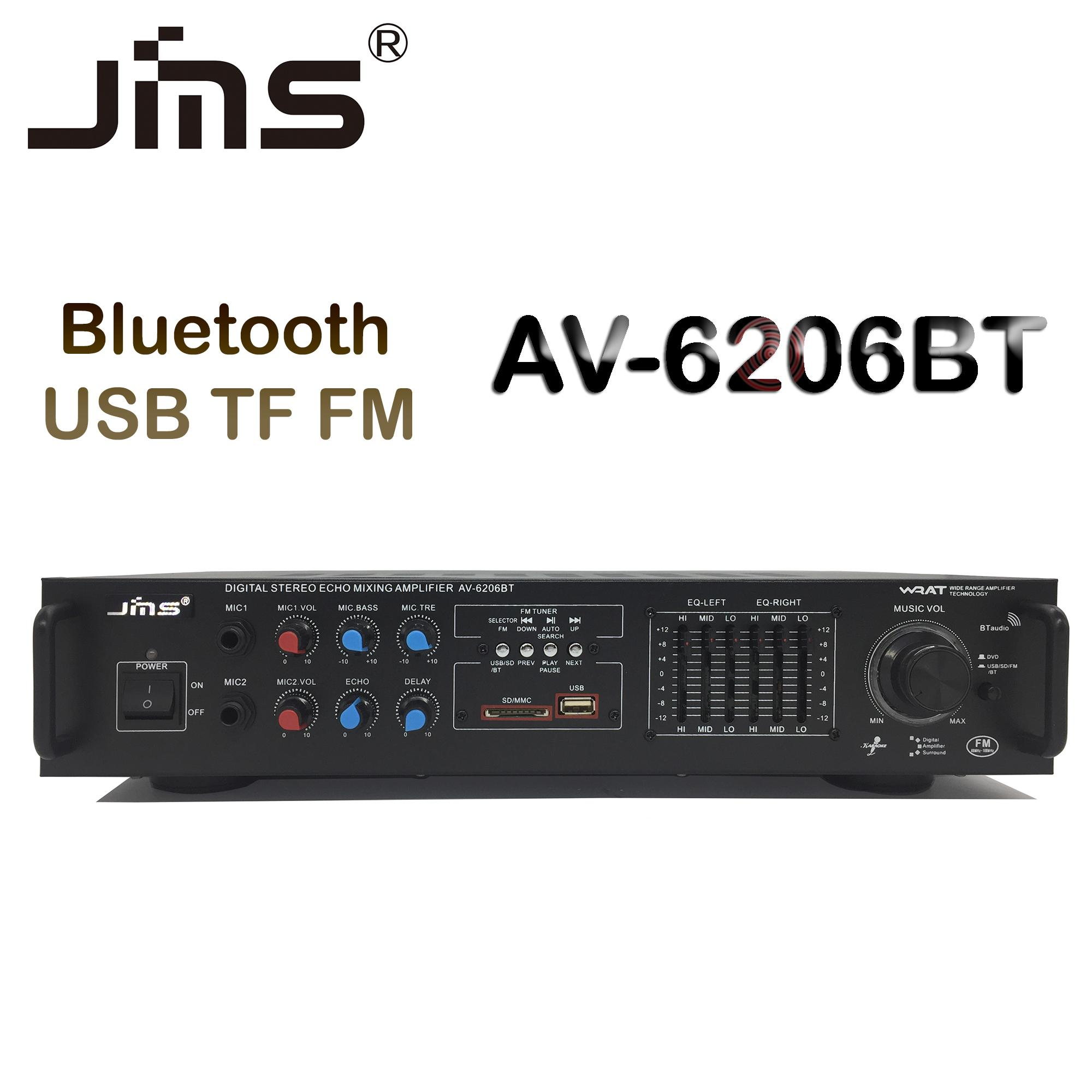 JMS AV-6206BT USB SD Bluetooth Stereo Karaoke Power Amplifier