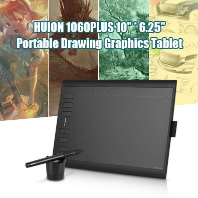 (free Shipping)huion 1060plus Portable Drawing Graphics Tablet Pad 10 * 6.25 Active Area 2048 Level Pressure Sensitivity With 8g Memory Card Rechargeable Digital Pen For Windows Mac Pc Black - Intl By Tomtop.