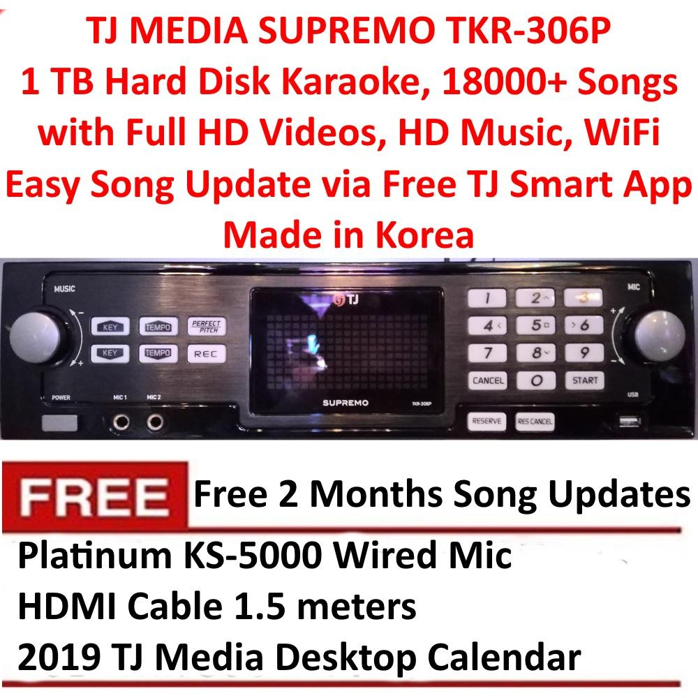 TJ Media Supremo TKR-306P 1 TB Hard Disk Karaoke with 18000 English and OPM  Songs, Full HD Videos, WiFi Ready