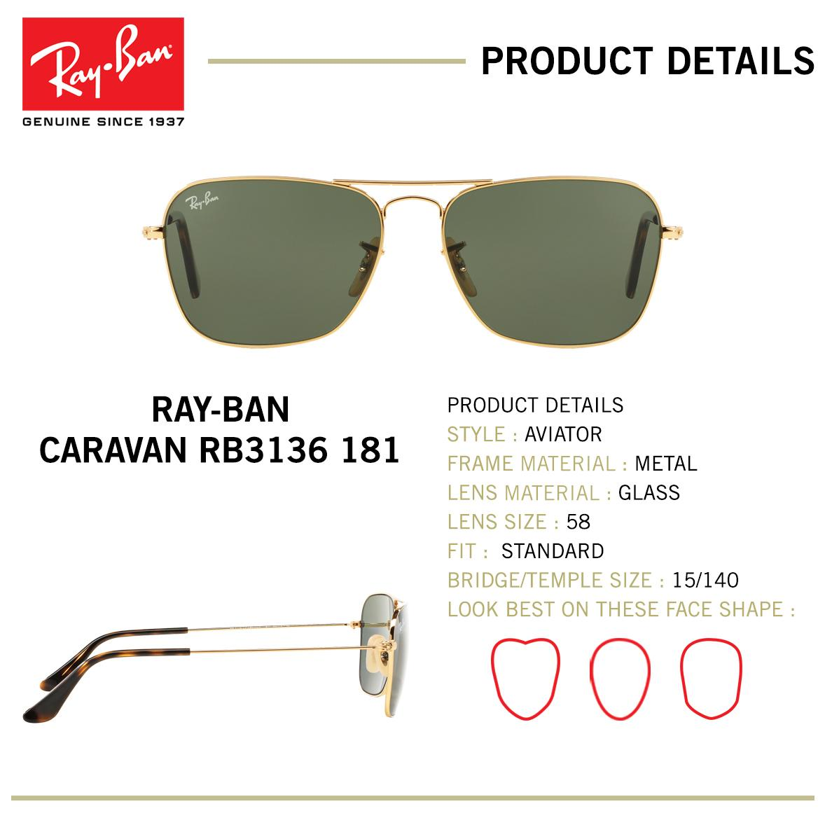 11fa855b3d0 Ray-Ban Caravan - RB3136 181  Buy sell online Unisex with cheap ...