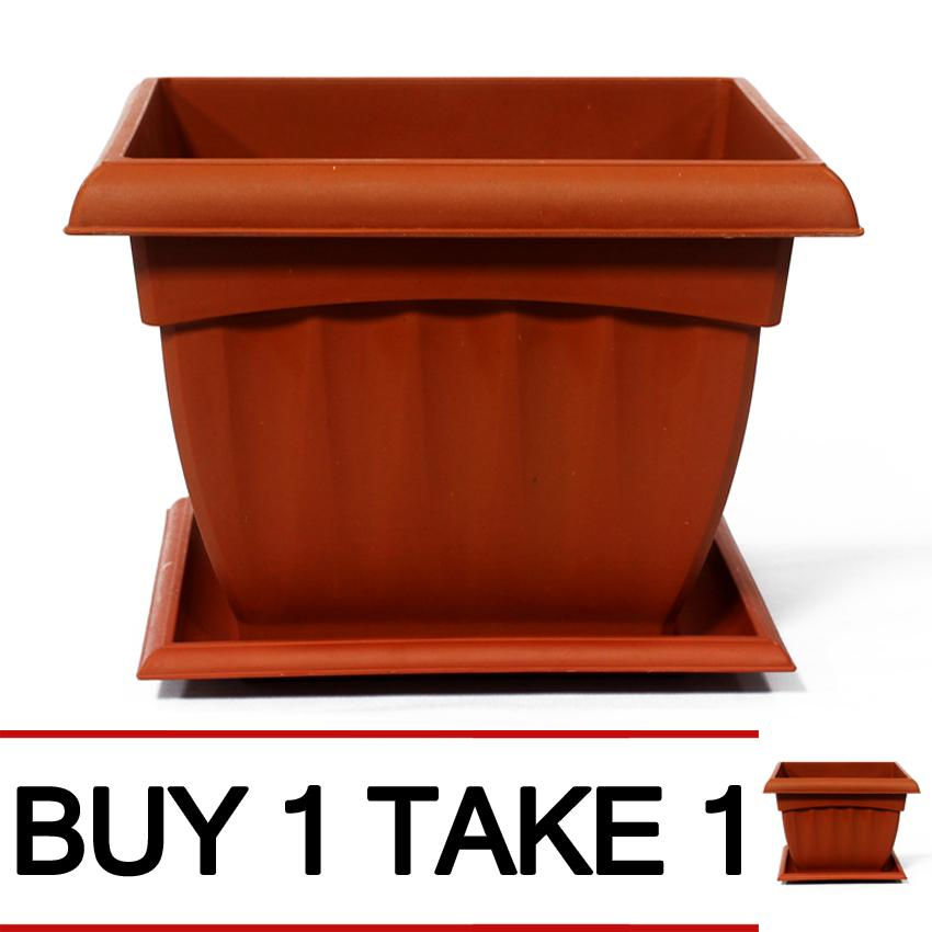 225 & DM Oriental Flower Pot 2202 Square with Water Tray Base (Medium 8\