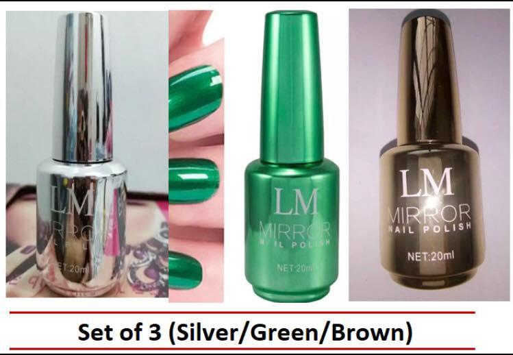 LM Mirror Nail Polish, Set of 3 (Silver/Green/Brown) Philippines