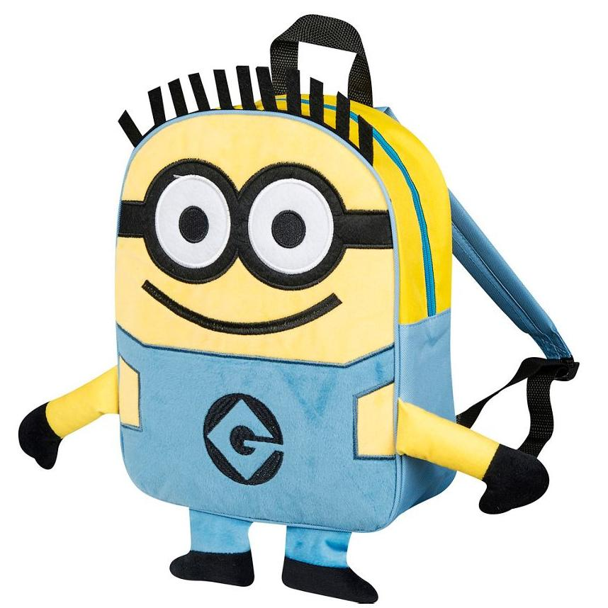 Deable Me Minions Embroidered Plush Front Backpack School Bag