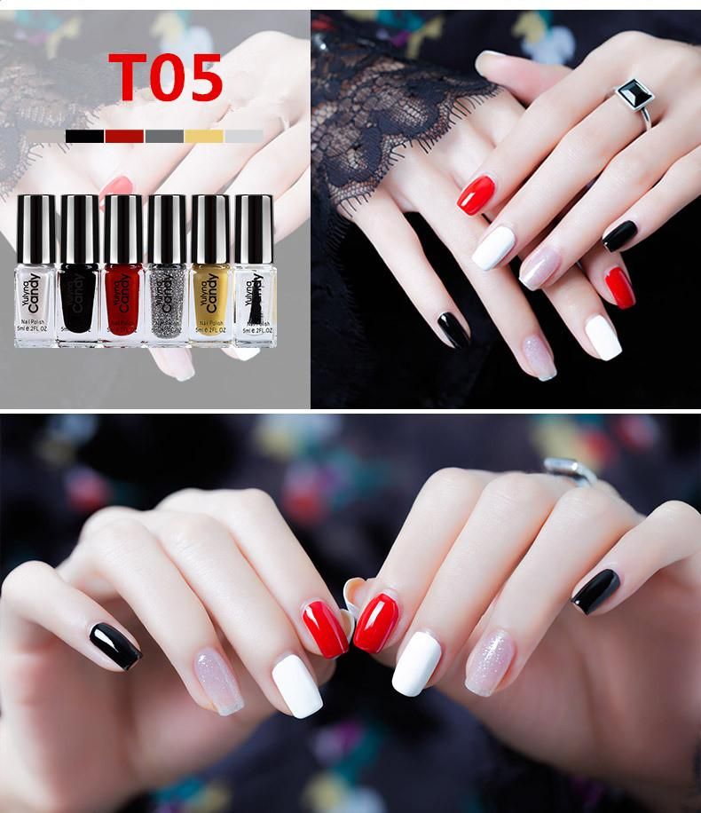 O-New 6pcs/set Lasting Non-fading Non-toxic Nail Polish 5ML Philippines