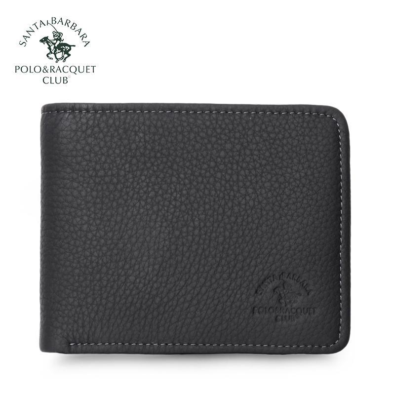 f23321dbf9 Santa barbara POLO&RACQUET CLUB Wallet man Leather Short Wallet Full-grain  Leather Business Wallet Soft