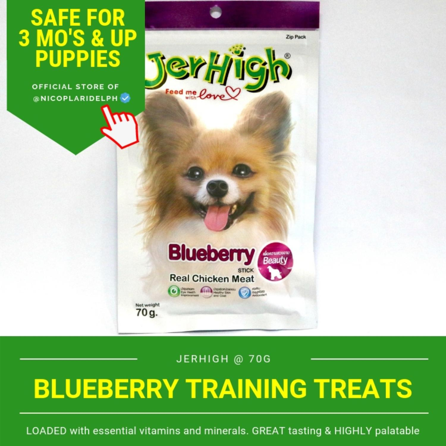 Jerhigh Blueberry Sticks With Real Chicken Meat For Puppies And Adult Dogs (70g) By Nicoplaridelph.