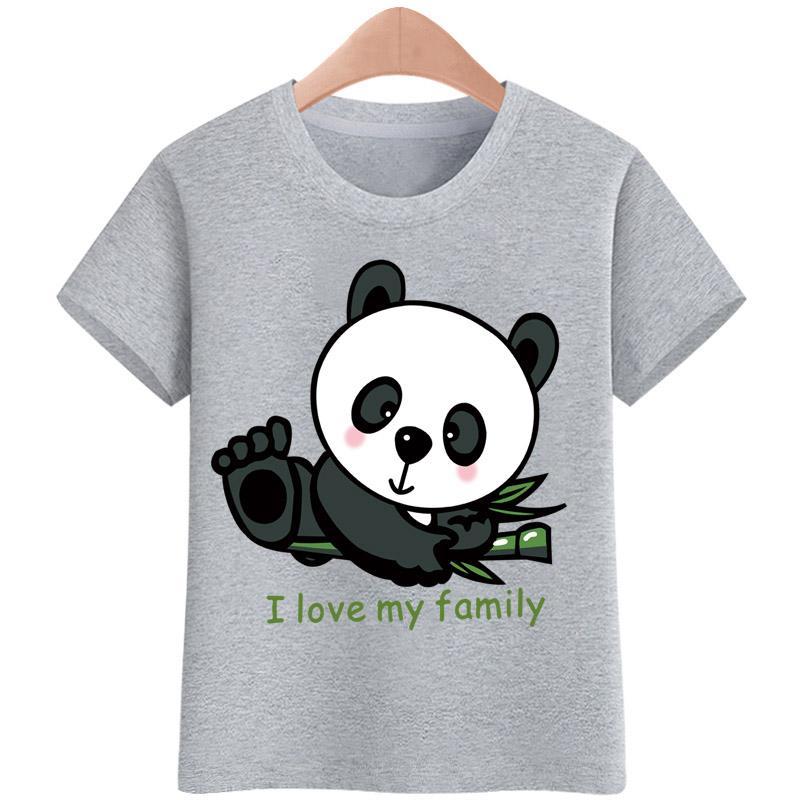 44cb324cc7 Tshirt for kids I love my family panda t shirt Boy s T-shirt Girls Cartoon