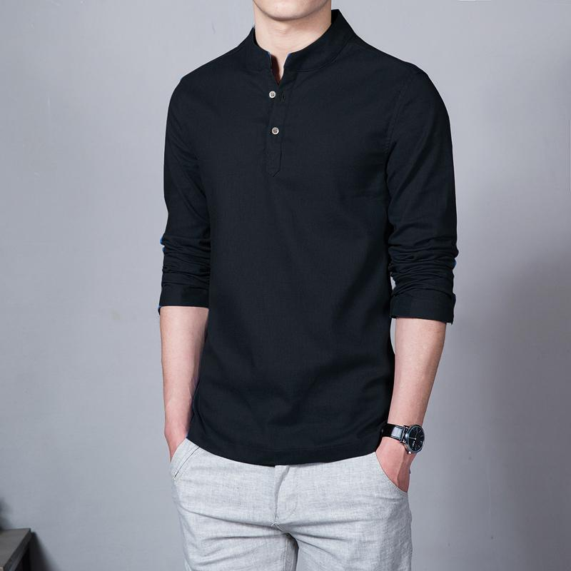 e2bb868715 Spring Summer Thin Section Long-sleeved Shirt Chinese Style Business Casual  Shirt Stand Collar Polo