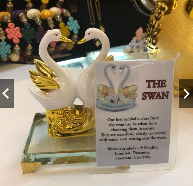 Couple Swan With Glass Stand By Lucky Charm Dm.