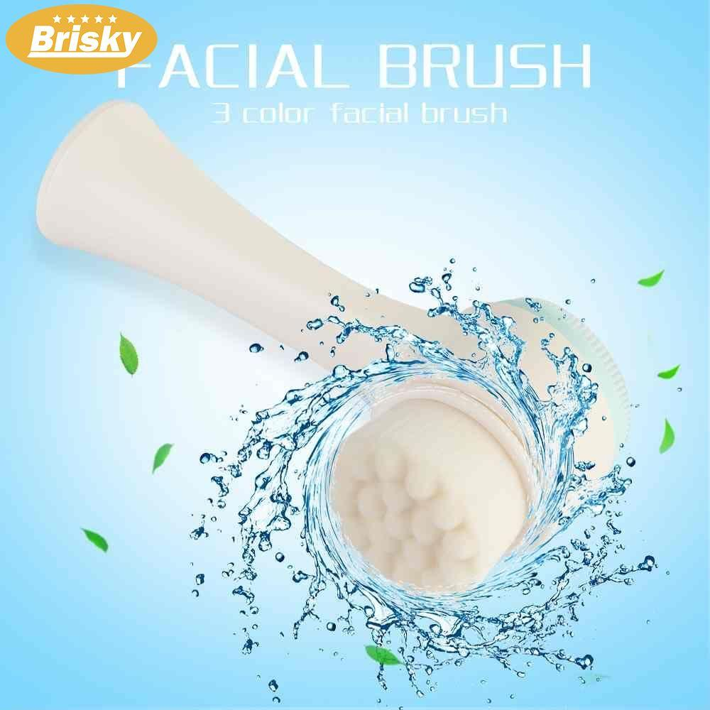 Brisky 1Pcs Double Side Silicone Facial Cleanser Brush Massage Face Care Tool - intl Philippines