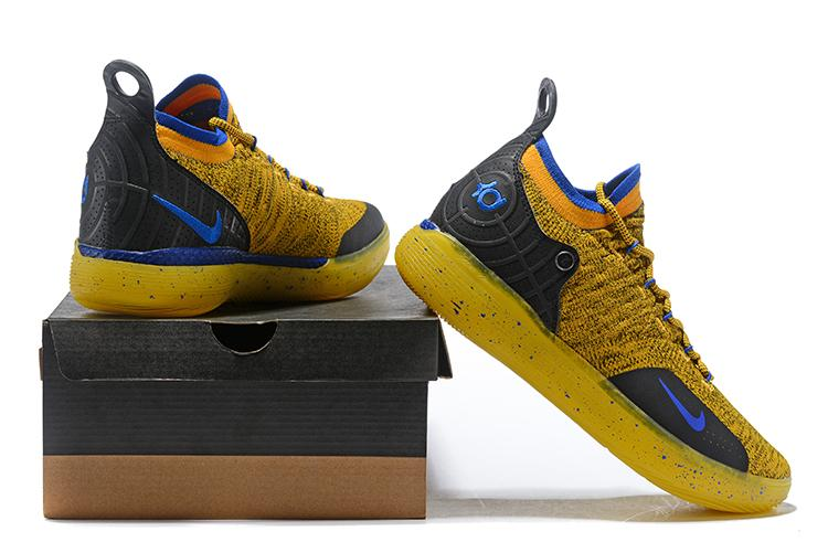 newest collection 932d6 dea8e Famous Brand Nike Zoom KD 11 EP Gold Yellow Blue NBA Kevin Durant Men s  Basketball Shoes