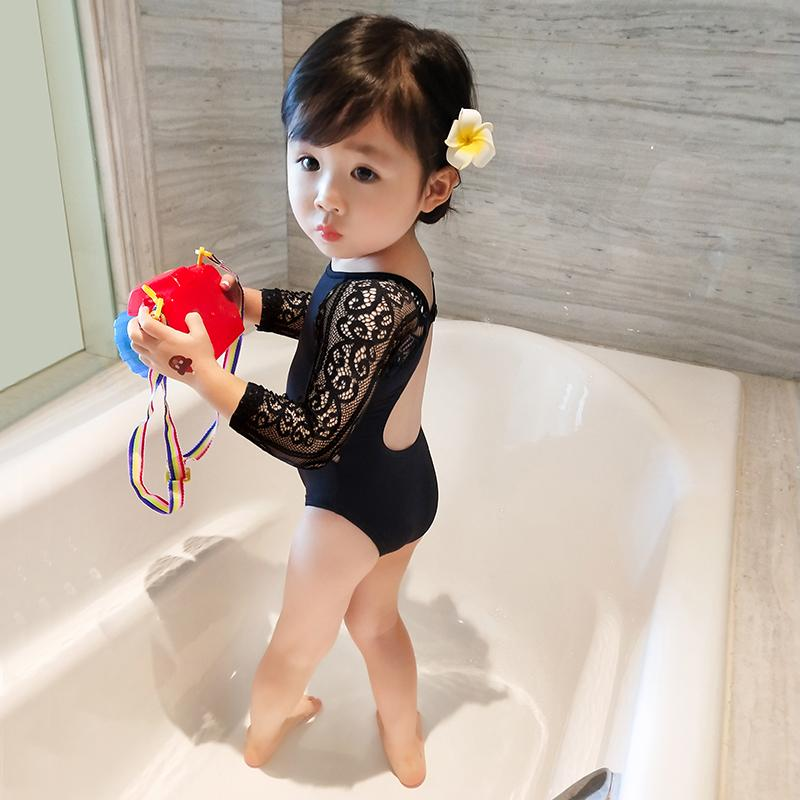 girl women Swimsuit Childrenswear New Style Summer Princess Joined Bodies  Black Lace Kid s Swimwear Swim Suit d793f04b4