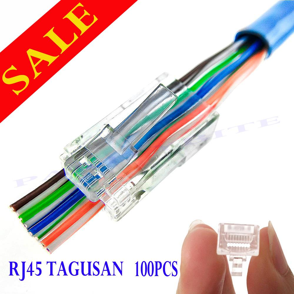 Ethernet Cable For Sale Etherner Adapters Prices Brands Specs Dsl Inter Connection Together With Rj45 Connector Wiring Diagram 100pcs Passthrough Tagusan Cat5 Cat5e Cat6