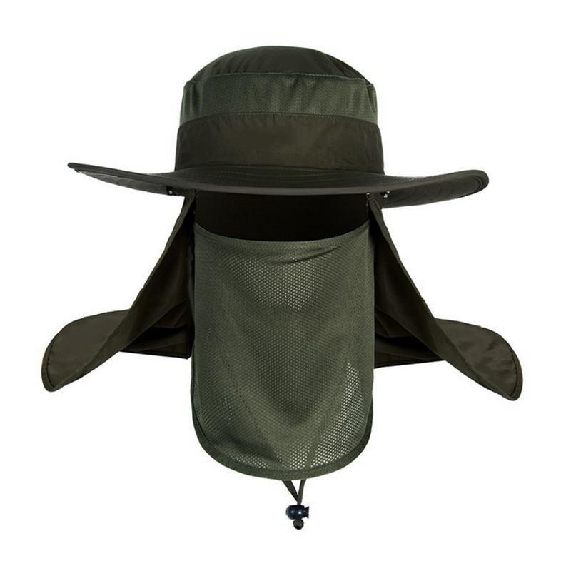 2046e7be729 U-like Men Fishing Visor Hat UV Protection Face Neck Outdoor Hiking Cover  Sunscreen Cap