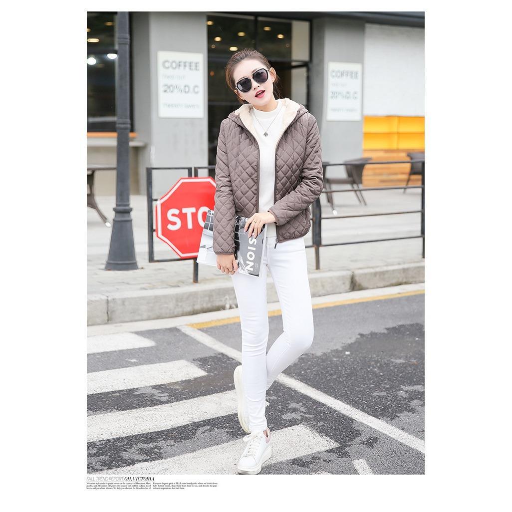 1f20ef4de47 women winter jacket hooded fleece solid coat 2019 Autumn spring thin  outerwear female short zipper student jaqueta feminina(WINE RED) - intl