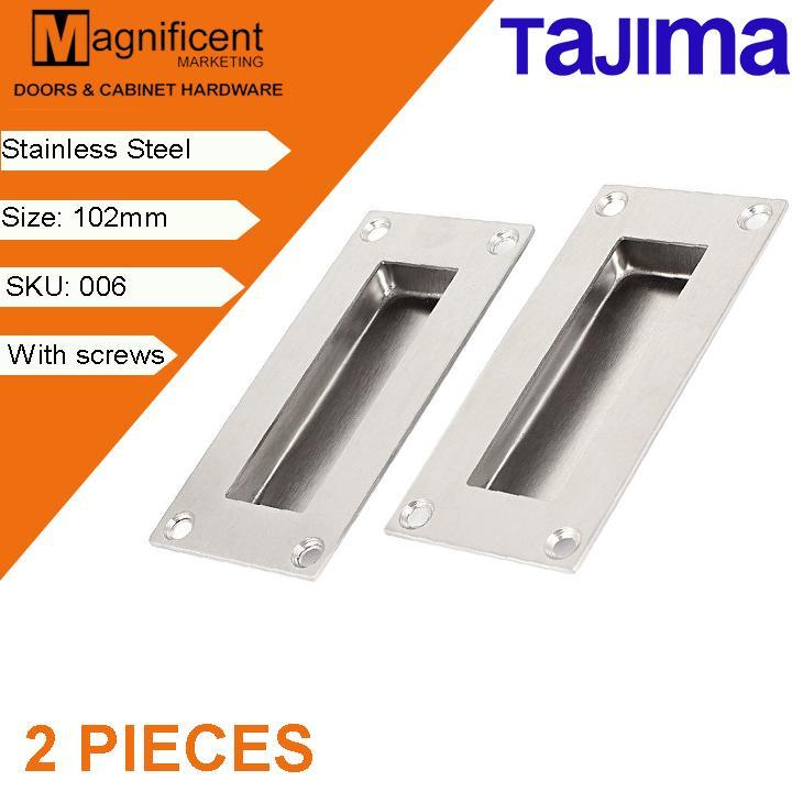 Tajima Rectangular 006 102mm Flush Handle for Sliding Door Pull Handle  (Stainless Steel) (2 Pieces)