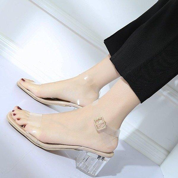 52c98d5c03e 2019 Summer New Style Transparent A-line Belted shui jing gen Block Heel  Sandals women