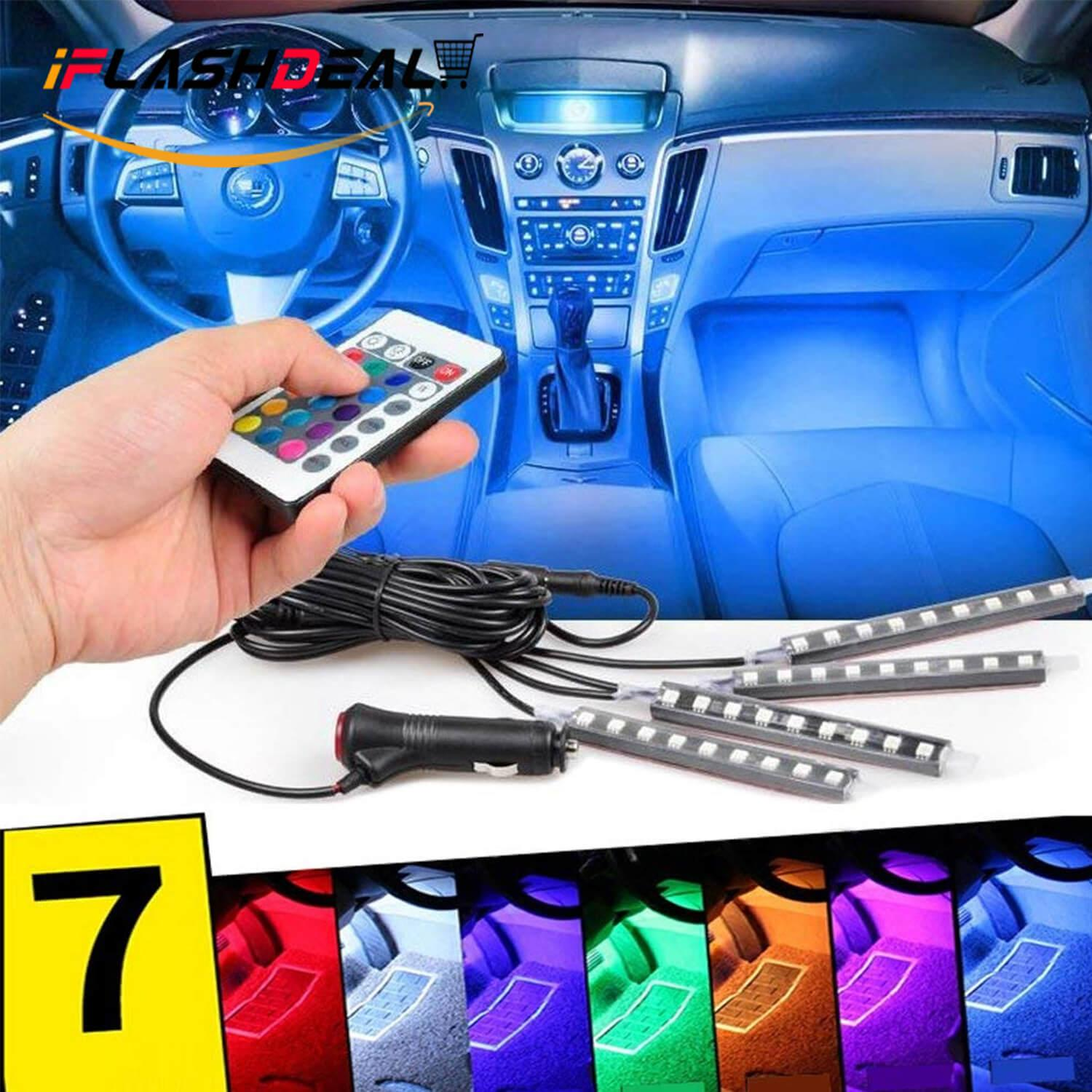 Iflashdeal Car Led Strip Light 4pcs 48 Remote Control Multi Color Interior Lights Under Dash Lighting Kit 95 Accord Headlights Wiring Harness