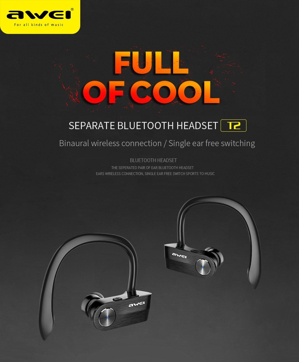a5b5843dd35 AWEI T2 Wireless Bluetooth Earphone TWS Stereo Headset with Microphone -  Black