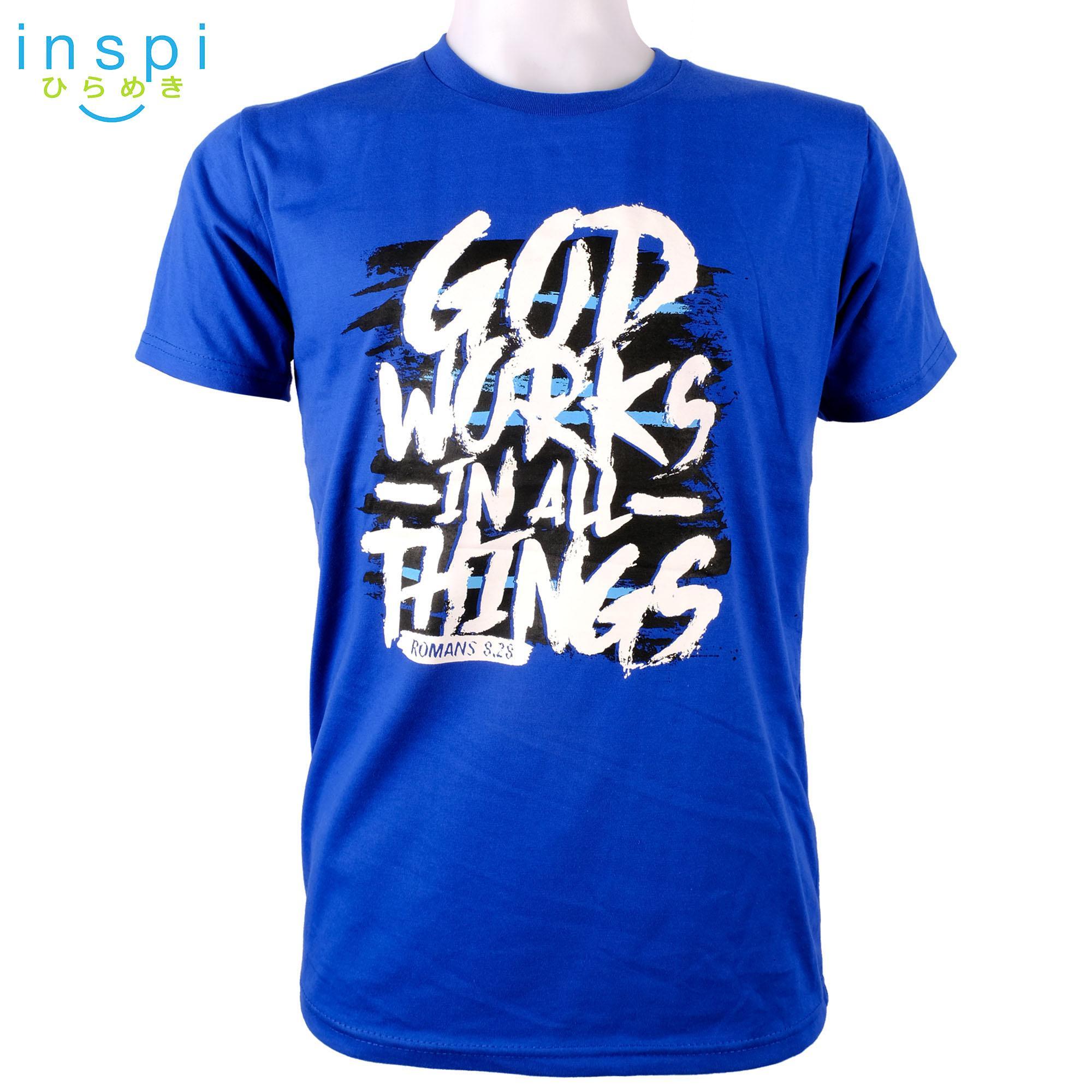 INSPI shirt God Works (Blue) tshirt printed graphic tee Mens t shirt shirts  for 7e24f97507f07