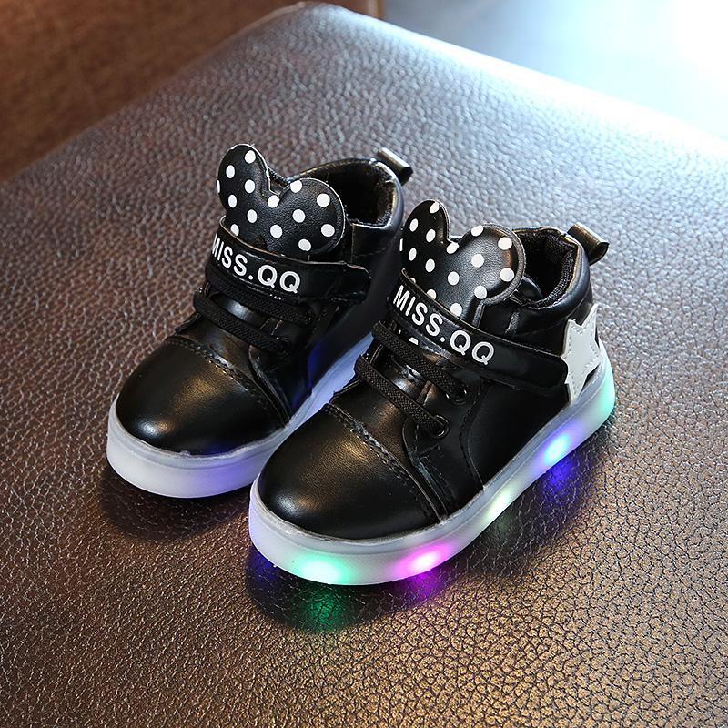 Girls' Korean-style High Top Flashing Sneakers
