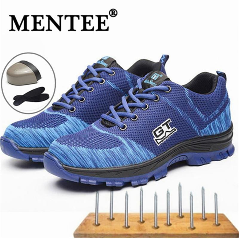 fd430221377d MENTEE Men s Plus Size 35-46 Breathable Mesh Steel Toe Outdoor Safety Shoes  Men Industrial