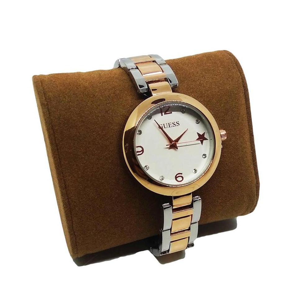 61f3917d80 Guess Ladies Analog White Dial Two Tone Plated Rosegold Silver Stainless  Steel Watch
