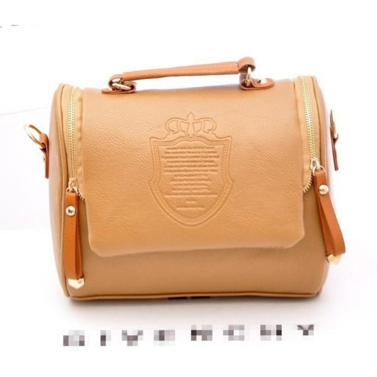 UISN MALL Korean version of the British double pull crown bag fashion trend  shoulder bag   38859f5d0b2ce