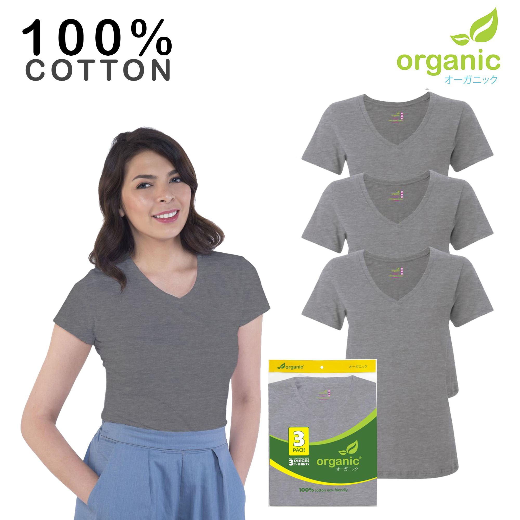 f1fbbba07fc6c Organic Ladies (set of 3) 100% Cotton Vneck Tshirt Fashionable Tees t shirt