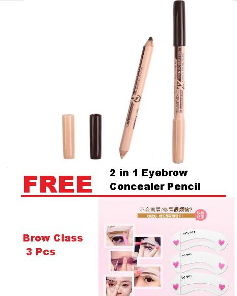COD Hot Sale 2 in 1 Eyebrow Concealer Pencil with Free Brow Class Template 3 Pcs Philippines