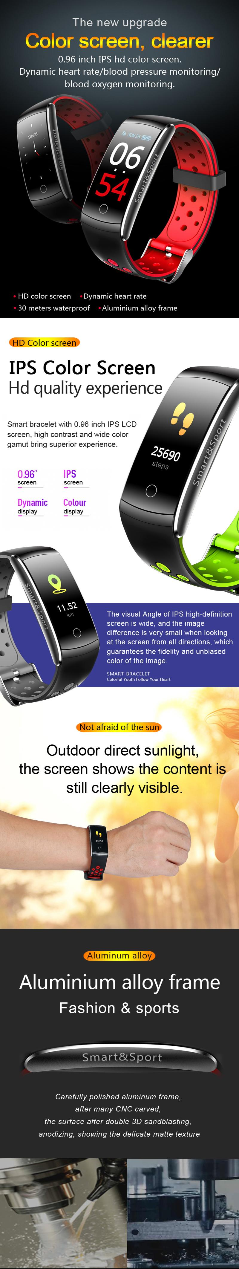 New 2019 Q8S Sport Smart Bracelet 0 96 inch IPS HD color screen Wristband  Heart Rate Blood Pressure Monitor Smart Watch IP68 Water Proof Fitness