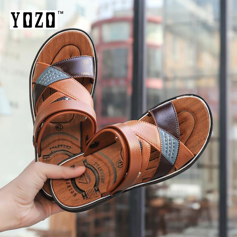 7ff6e6820c07db YOZO Luxury Brand Classical Male Italian Designer Sandals Beach Shoes  Breathable Summer Men Leather Slides Sandals
