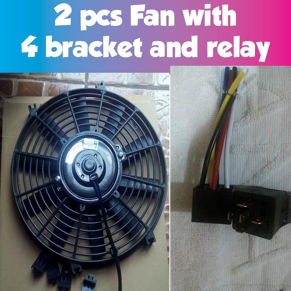 Car Fan For Sale Auto Cooling Online Brands Prices Reviews Pusher Ac Wiring 2 Pcs Slim Aux Assembly Universal Condenser Or Radiator 12v